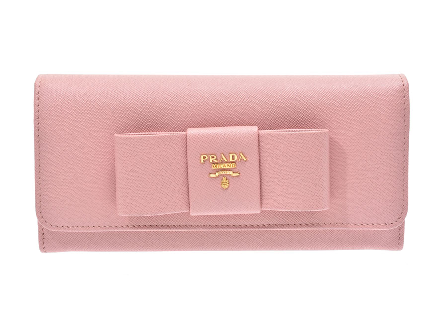2a3a825a6773 Prada fastener long wallet ribbon pink G metal fittings 1M1132 レディースサフィアーノ  newly beauty product PRADA box guarantee used silver storehouse