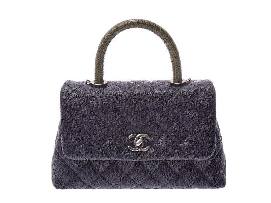 3d206ae6e972 Chanel matelasse 2WAY handbag Kelly type lizard steering wheel black /  green SV metal fittings Lady's caviar skin A rank beauty product CHANEL box  strap ...