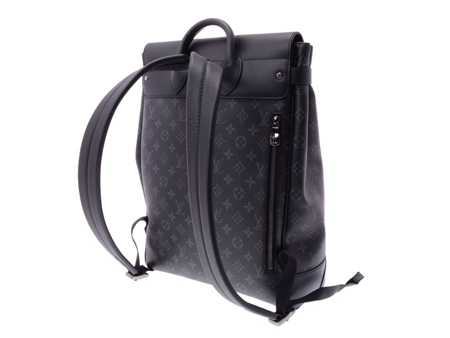 8dc2e9103b84 Louis Vuitton eclipse steamer backpack black M44052 men genuine leather  rucksack new article LOUIS VUITTON silver storehouse