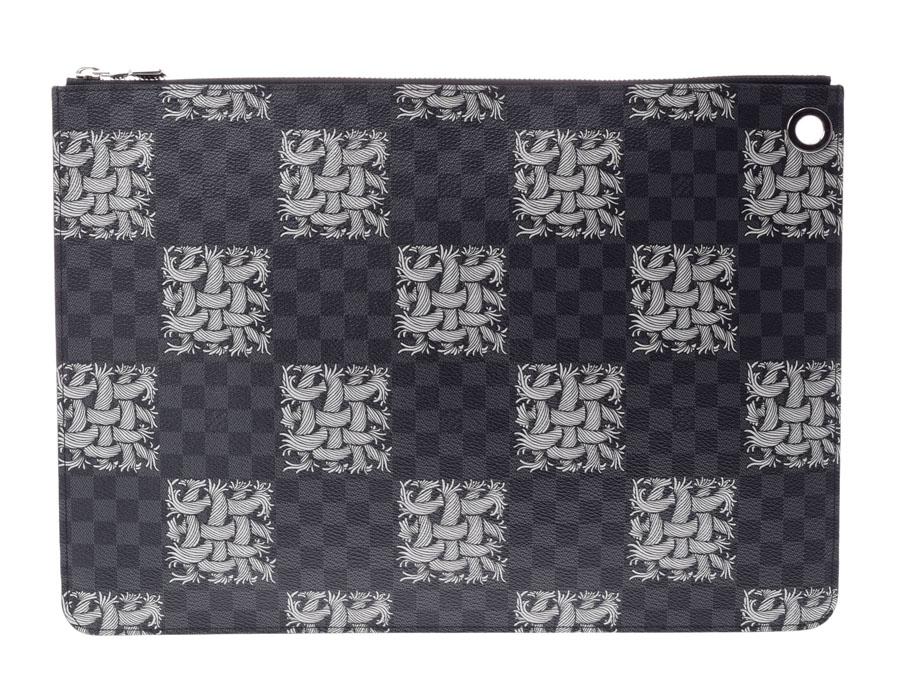 ルイヴィトン ダミエグラフィット クリストファーネメス ポシェットジュールGM 黒 N61232 メンズ 本革 クラッチバッグ Aランク 美品 LOUIS VUITTON 中古 銀蔵