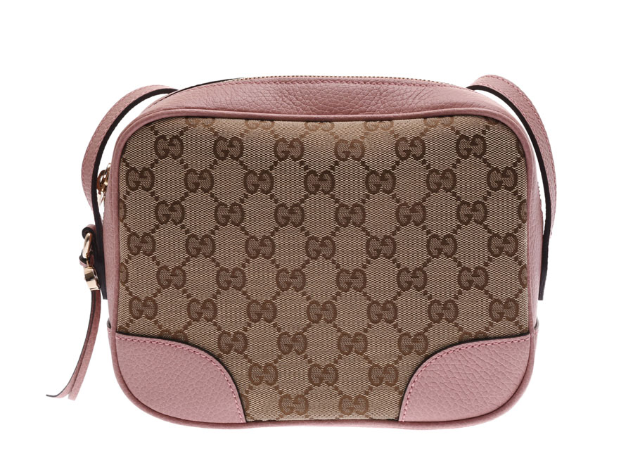 Gucci shoulder bag pink beige Lady\u0027s GG canvas leather outlet newly beauty  product GUCCI used silver storehouse