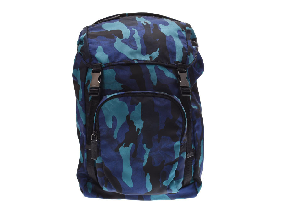 417b20a32456 Ginzo Rakuten Ichiba Shop: Prada backpack blue system camouflage pattern  V135 men gap Dis nylon rucksack newly PRADA used silver storehouse |  Rakuten Global ...