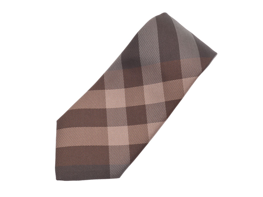 851b2bd6d652 Burberry tie brown check men silk 100% A rank beauty product BURBERRY used  silver storehouse ...