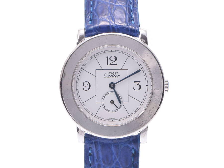 AUTH-CARTIER-WATCH-MUST-ROUND-WHITE-DIAL-SV925-LEATHER-BELT-QUARTZ-WOMENS-F-S miniature 1