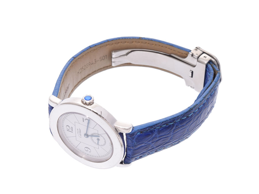 AUTH-CARTIER-WATCH-MUST-ROUND-WHITE-DIAL-SV925-LEATHER-BELT-QUARTZ-WOMENS-F-S miniature 2