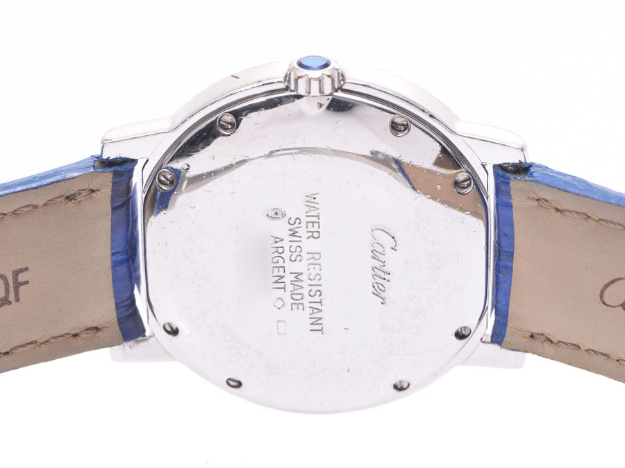 AUTH-CARTIER-WATCH-MUST-ROUND-WHITE-DIAL-SV925-LEATHER-BELT-QUARTZ-WOMENS-F-S miniature 3