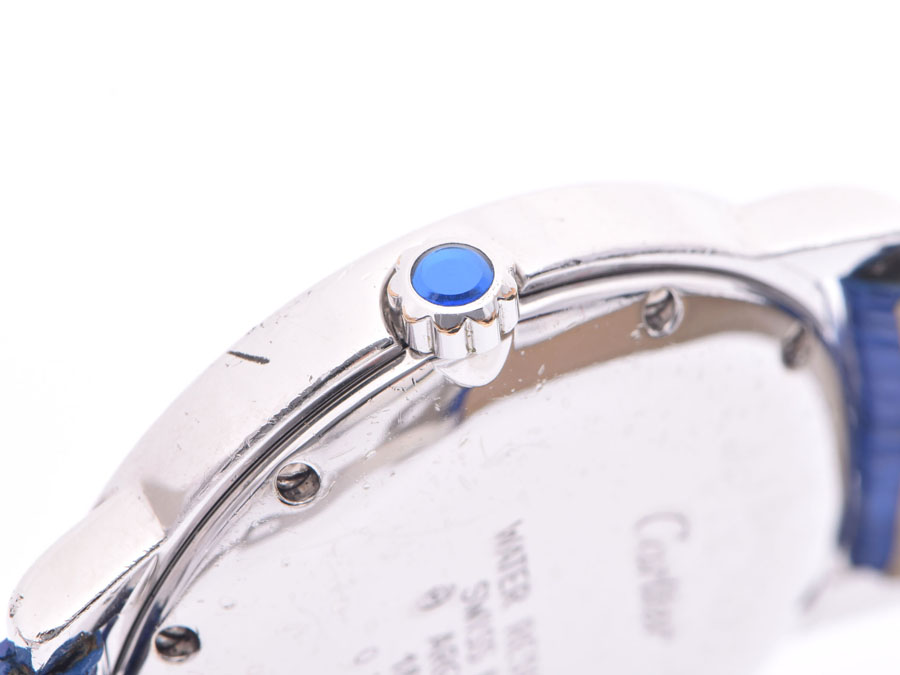 AUTH-CARTIER-WATCH-MUST-ROUND-WHITE-DIAL-SV925-LEATHER-BELT-QUARTZ-WOMENS-F-S miniature 8