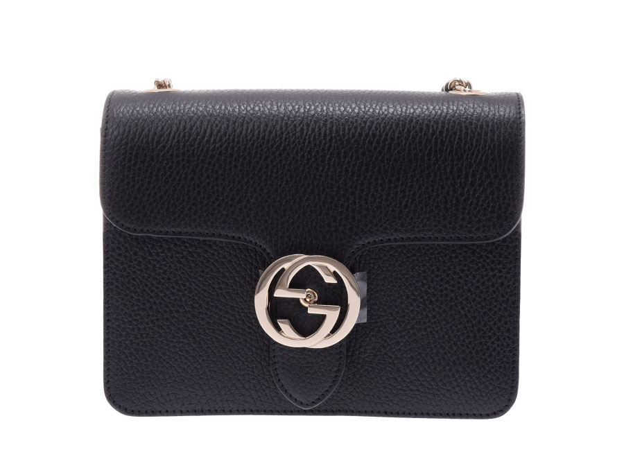 Gucci chain shoulder bag black champagne metal fittings Lady\u0027s leather  outlet newly beauty product GUCCI used silver storehouse