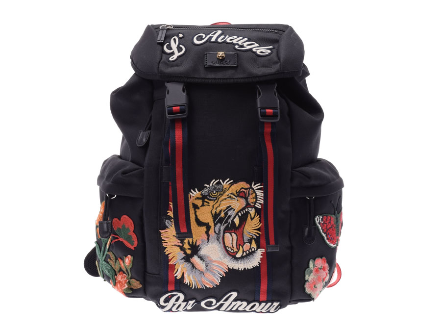 Gucci embroidery backpack tiger black men nylon A rank beauty product GUCCI