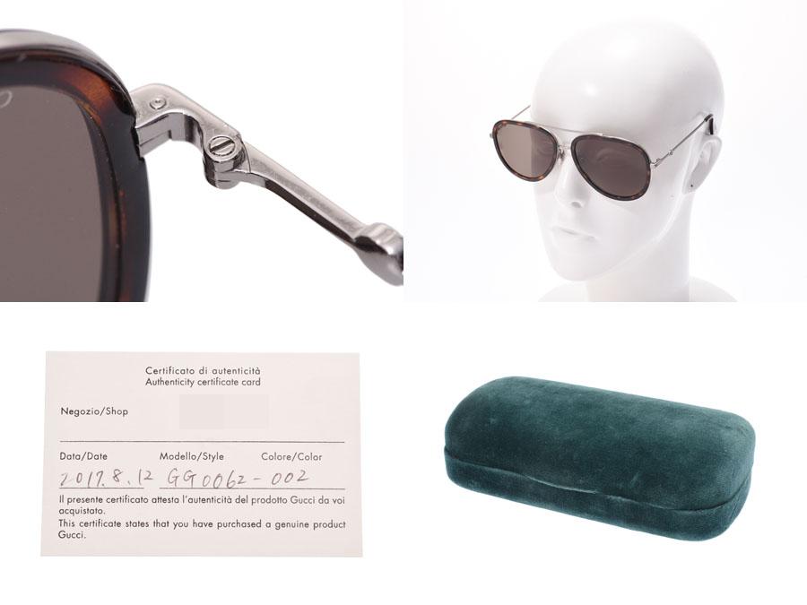 e50b68bb1a8 Gucci sunglasses teardrop tortoiseshell-like GG0062S Lady s men AB rank  GUCCI used silver storehouse