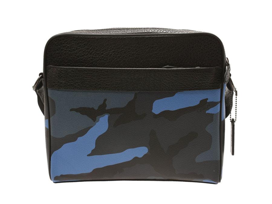 コーチ ショルダーバッグ 青 迷彩柄 アウトレット F29052 メンズ レザー 新同 美品 COACH 中古 銀蔵