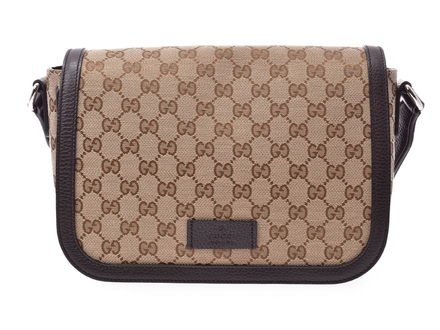 17e87057e76 Gucci shoulder bag beige   dark brown system men gap Dis canvas   calf  outlet A rank beauty product GUCCI used silver storehouse