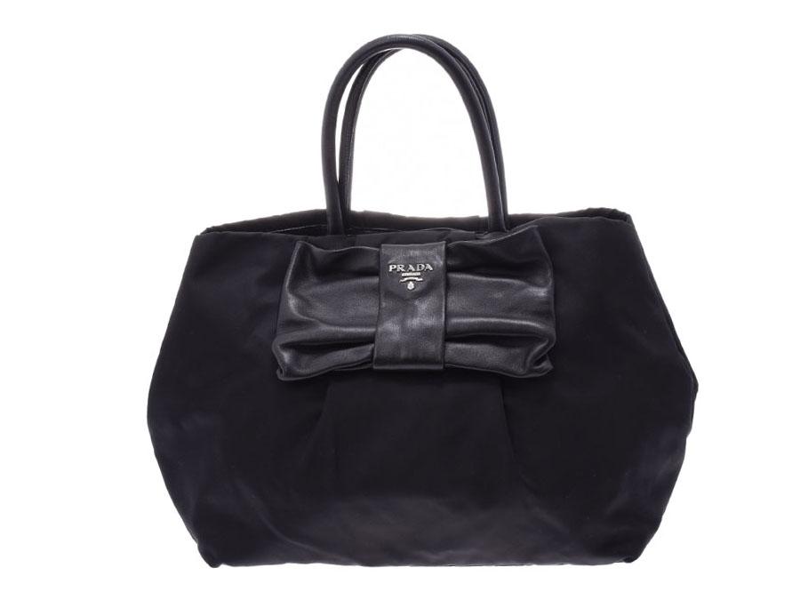 b1b0de307a8b Prada handbag ribbon black BN1601 Lady s nylon   ナッパ B rank PRADA guarantee  used silver storehouse
