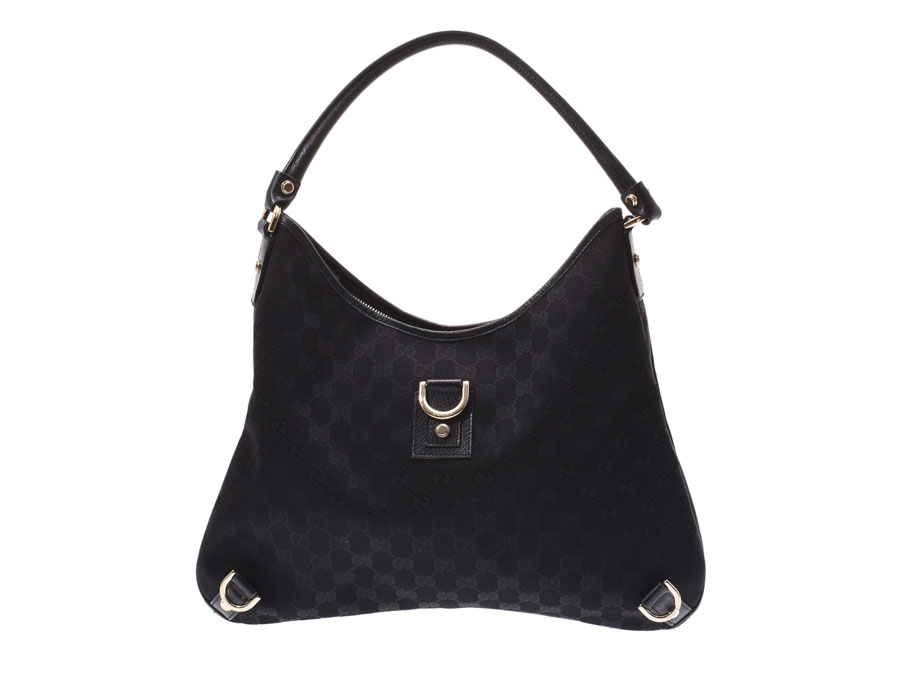 101c8a80ec5 Gucci semi-shoulder bag GG pattern black Lady s canvas   leather B rank  GUCCI used silver storehouse