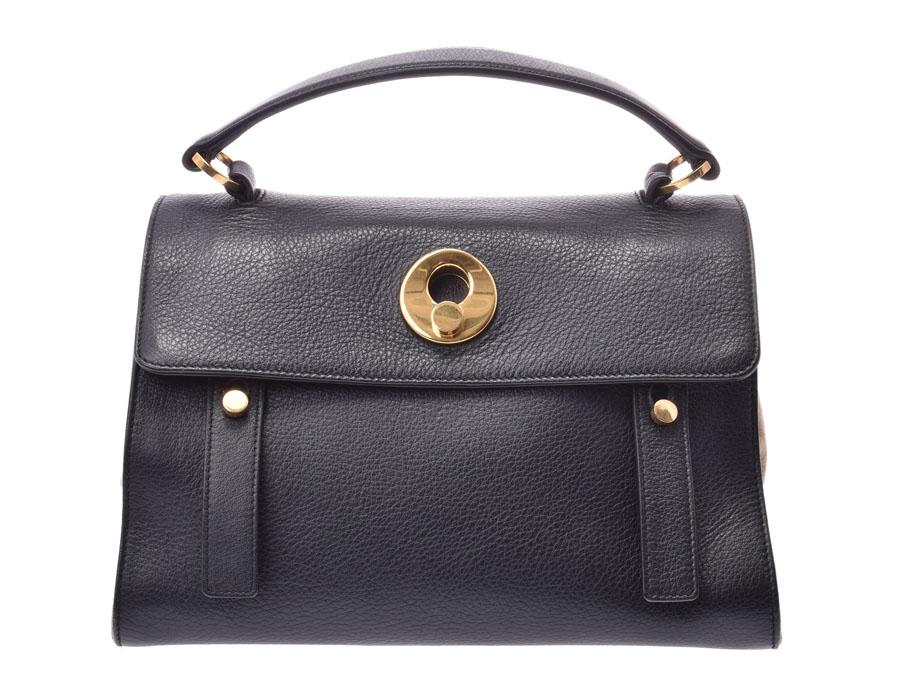 30aa079e91b86 Saint-Laurent Muses toe black   beige Lady s leather   suede 2WAY handbag B  rank ...