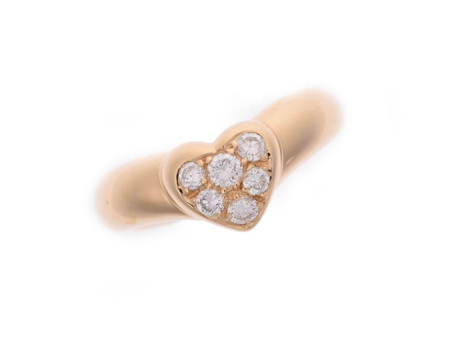 ティファニー ハートダイヤリング #8 レディース YG 3.8g 指輪 Aランク 美品 TIFFANY&CO 内箱 中古 銀蔵