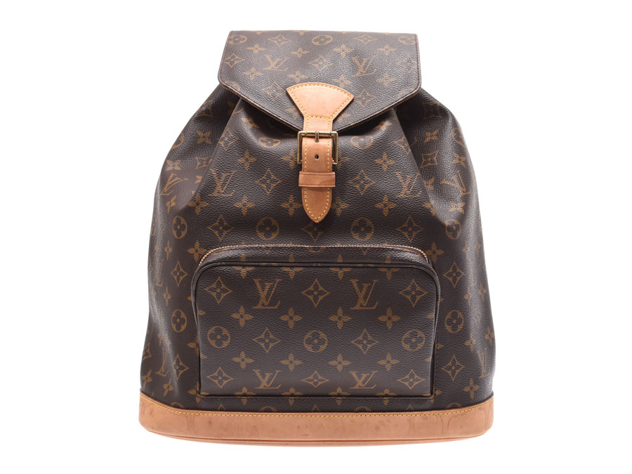a01ad18602c9 Louis Vuitton monogram mon pickpocket GM brown M51135 Lady s genuine  leather rucksack B rank LOUIS VUITTON used silver storehouse