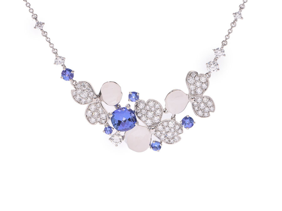 Tiffany Paper Flower Cluster Necklace Lady S Diamond Tanzanite Pt950 8 0 G Tiffany Co Box Used Silver Storehouse