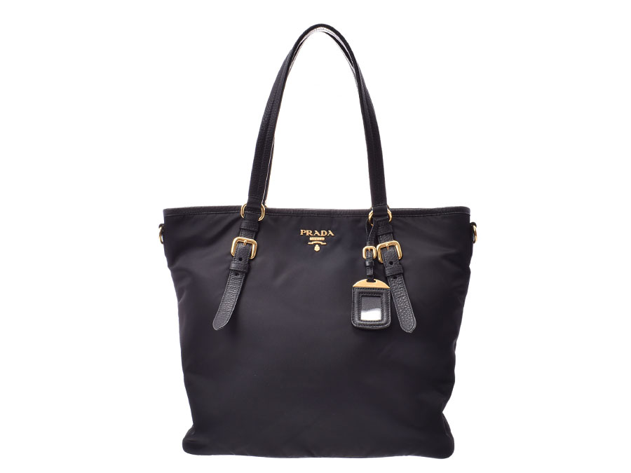Prada 2way Tote Bag Black Lady S Nylon Leather A Rank Beauty Product Strap Used Silver House