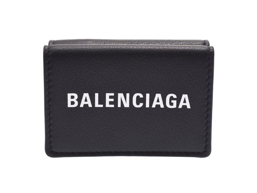 バレンシアガ エブリデイ ミニウォレット 黒/白 レディース メンズ カーフ 財布 Aランク BALENCIAGA 箱 中古 銀蔵