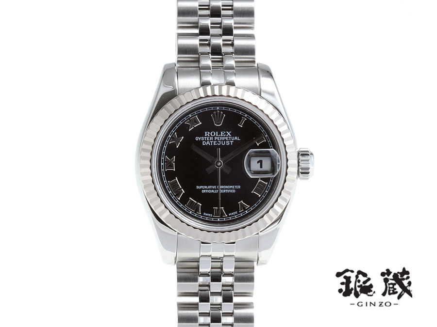 47654213fc16 Ginzo Rakuten Ichiba Shop  Rolex ROLEX Datejust 179174 D-SS WG black ...