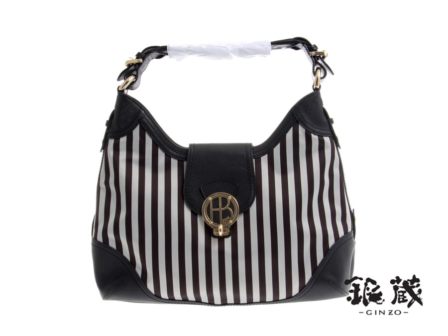 An New Henri Bendel And Bag Striped Canvas Leather Black