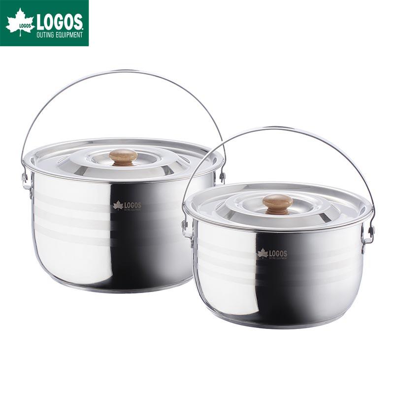 LOGOS ロゴス アウトドア クッカー 3層 ステンレス吊り鍋セット 2