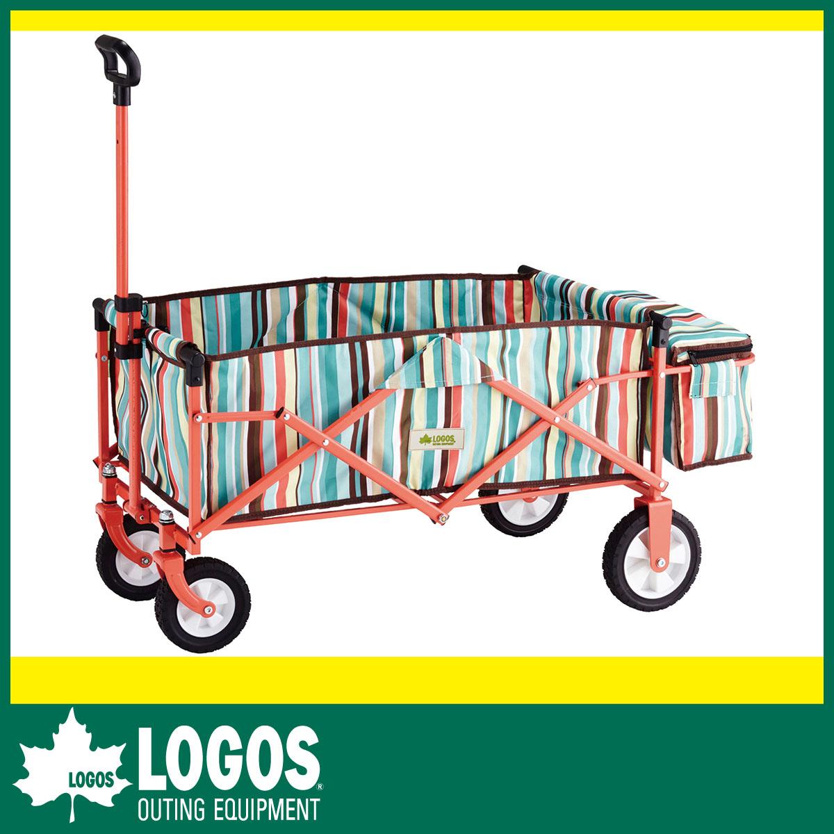 【LOGOS ロゴス】 重い荷物も一気に運べる! 大容量キャリー 丸洗いストライプ スマートキャリー with BOX(ブルー)