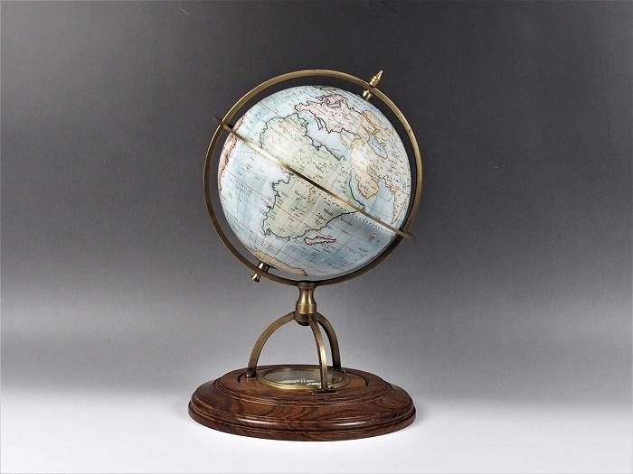 コンパス付き地球儀/グローブ・ジョバンニローゼ・アンティーク地図・インテリア・大航海・西洋・マリン・西洋・欧州・地中海・