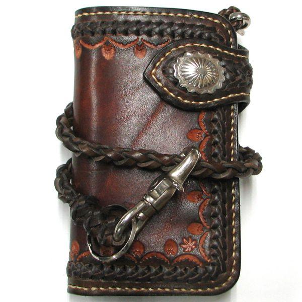 [クーポン発行中] 二つ折り財布 ウォレットチェーン 財布 ハンドメイド ミドルウォレット メッシュ仕様 メンズ プレゼント 新生活
