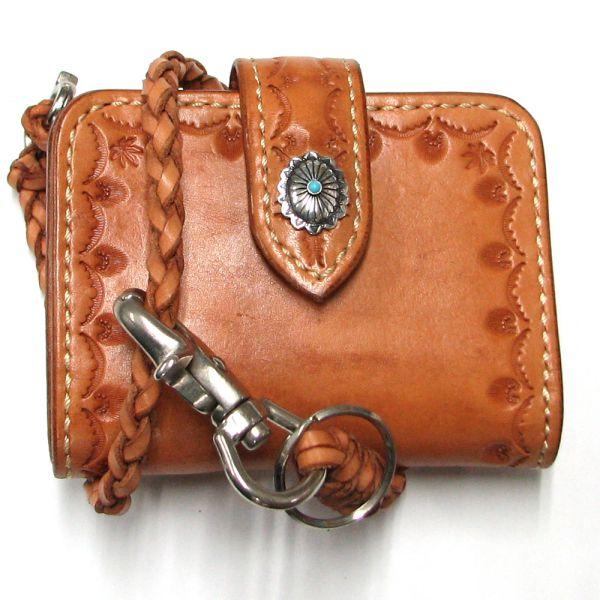 二つ折り財布 ウォレットチェーン 財布 ハンドメイド ショートウォレット メンズ プレゼント 勤労感謝の日