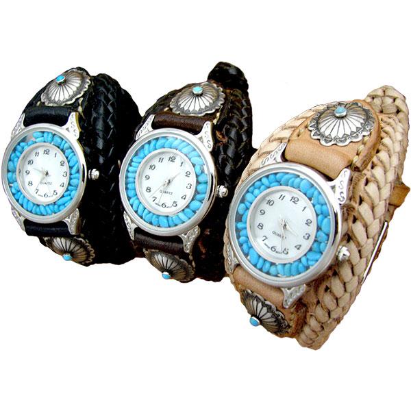 [クーポン発行中] 腕時計 革 ハンドメイド 手縫い 手編み レザーウォッチ クォーツ リアルストーン SILVER925 コンチョ ブレスレット 日本製 クリスマス
