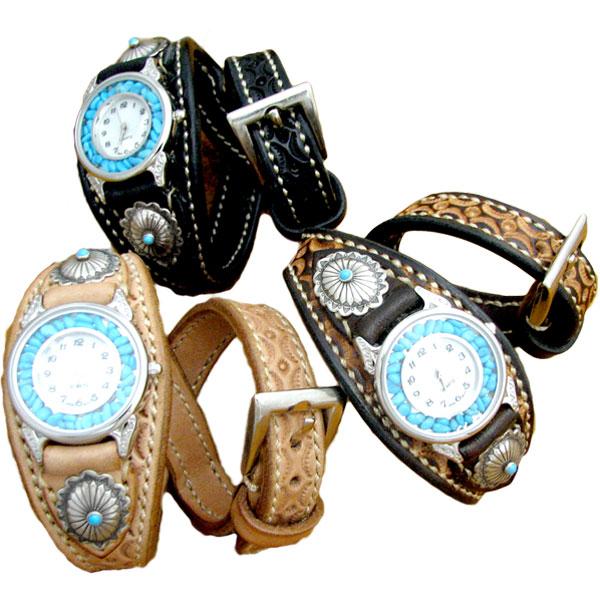 [クーポン発行中] 腕時計 革 ハンドメイド 手縫い 手編み レザーウォッチ クォーツ リアルストーン SILVER925 コンチョ ブレスレット 日本製 ダブル 新生活
