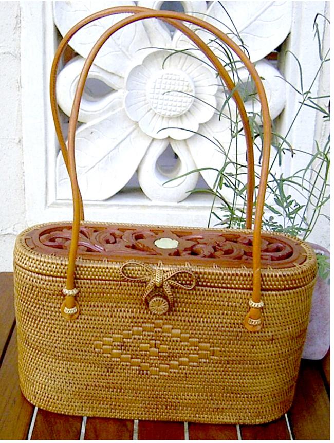 [クーポン発行中] カゴバッグ 熟練職人手作りアタバッグ本革ハンドル(木製透かし彫り蓋つき)atb0704 プレゼント ギフト 贈り物
