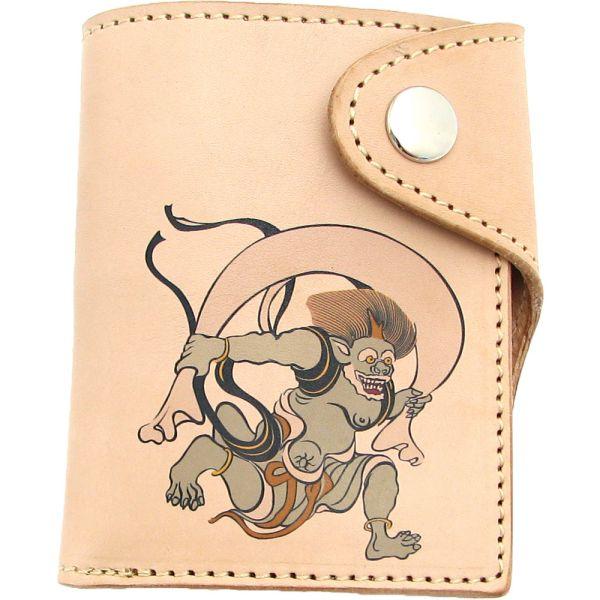 二つ折り財布 革 日本製 牛革 ハンドメイド ショートウォレット 和柄 風神 メンズ プレゼント 新生活