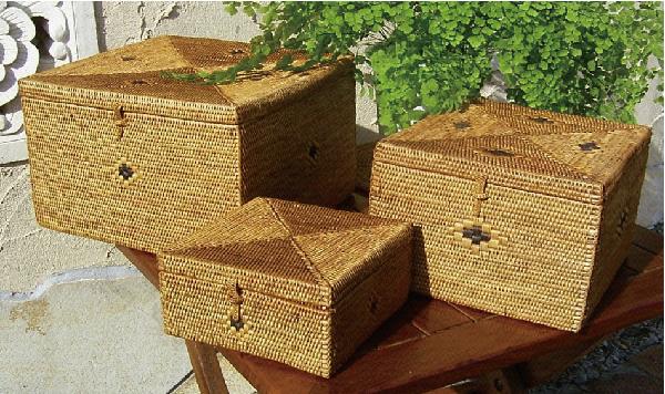 [クーポン発行中] カゴバッグ 熟練職人手作り アタ 四角マルチボックス(Lサイズ) プレゼント ギフト 贈り物