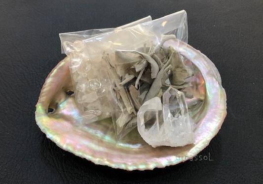 アーカンソー州産水晶クラスター付き浄化セットB!