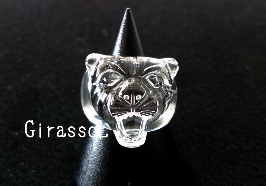 水晶タイガー(虎)天然石リング