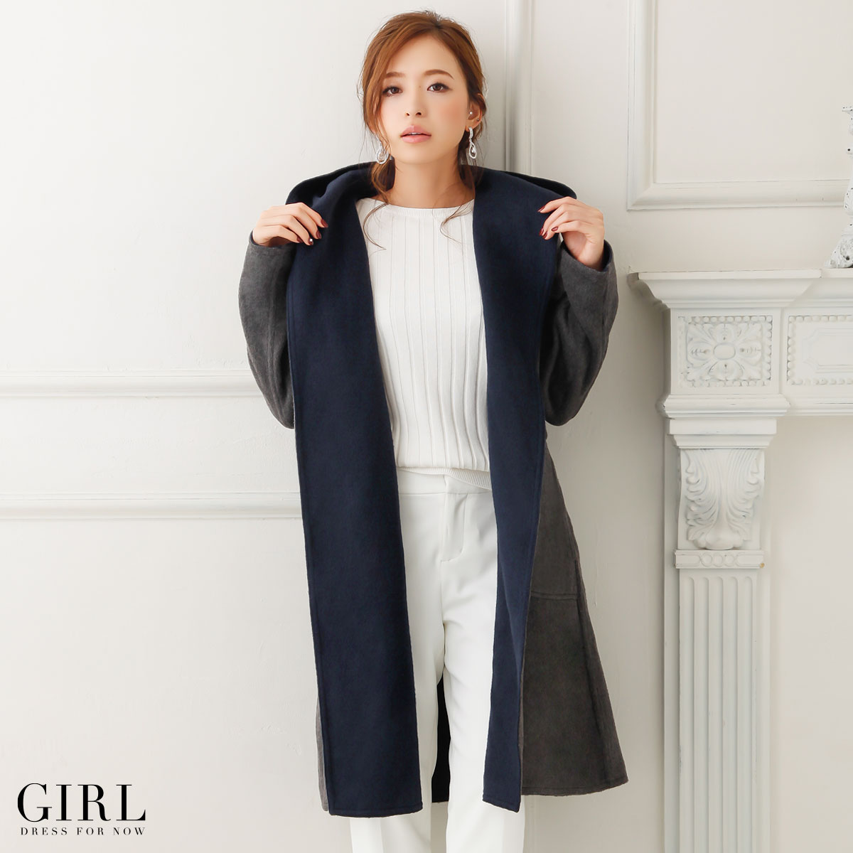 Coat River Court gowns women's coat outerwear winter autumn/winter jacket casual dress one piece beige Navy Black S M L 2 l LL XL wool reversible