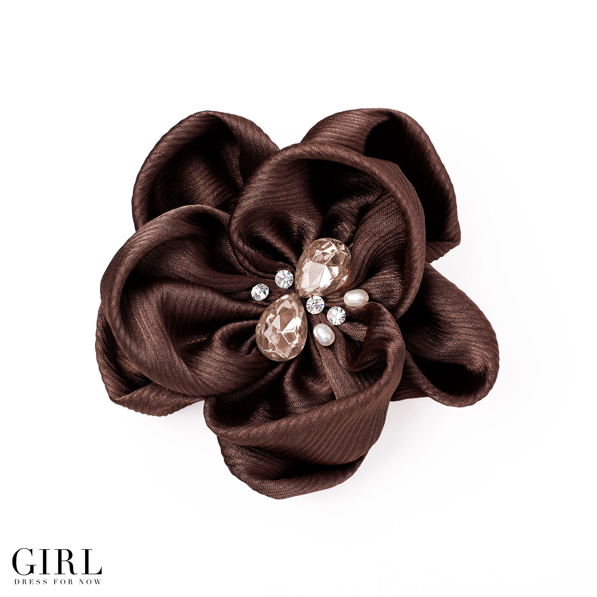Corsage ★ 9 colors cute round shape Barrette formal 艶めき satin corsage flower party ◆ wedding ◆ entrance ceremony, graduation and matriculation, graduation ceremony and party kimono yukata ornament 10P13oct13_b