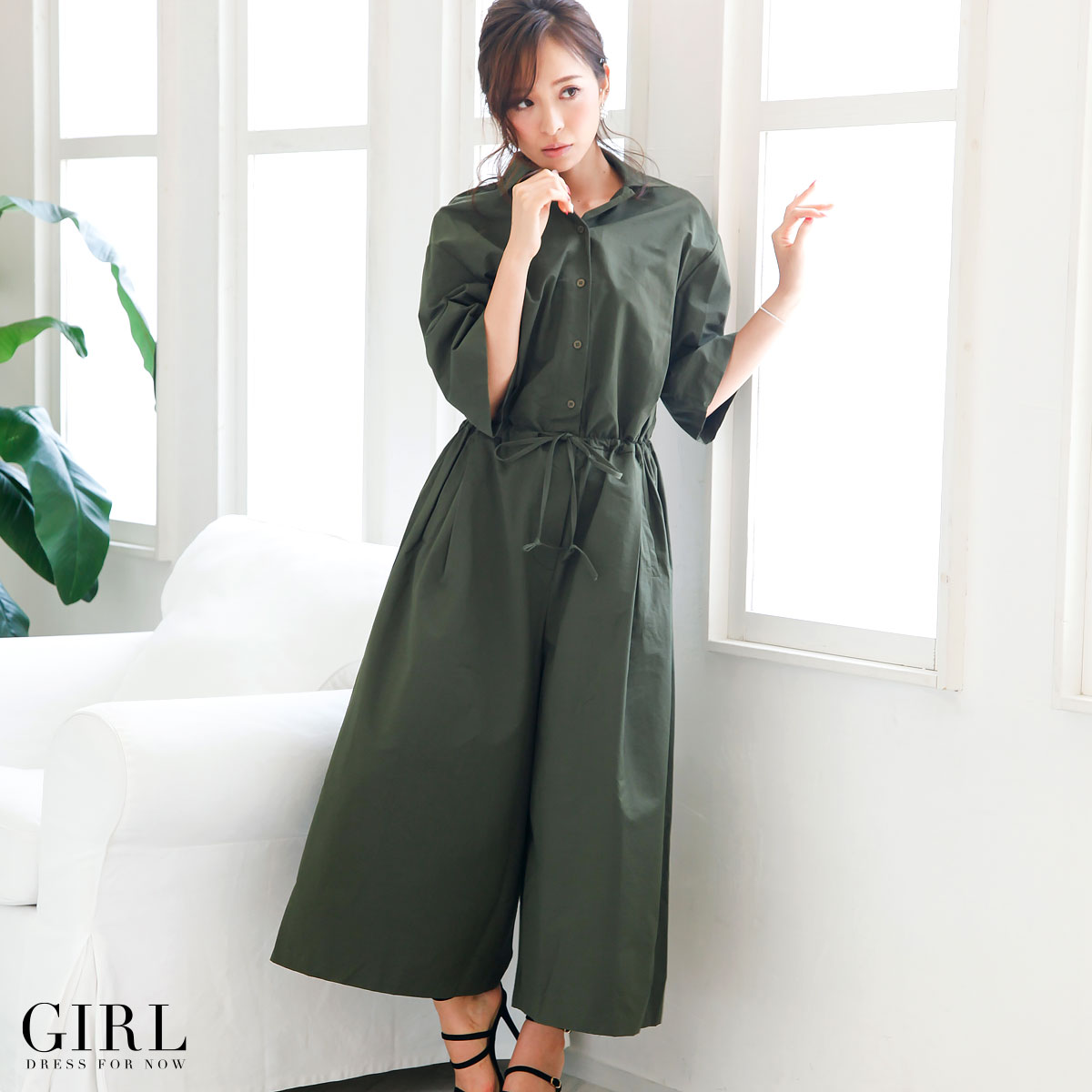 All-in-one pants wide pants fair pants trouser suit pants dress overalls shirt party dress one piece dress invited casual commuter Office pants style long sleeve sleeves is with sleeves