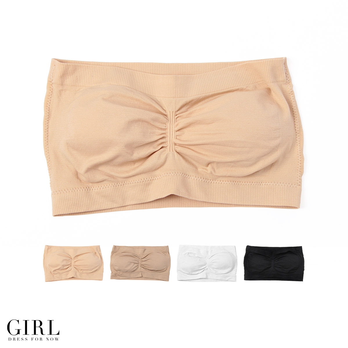 25e6f80075 Tube top style with the comfort of exceptional インナーブラ ☆ Middle shirred  accents ♪ tube bra bra top beat-up bra inner tube top with cup showing bra  ...