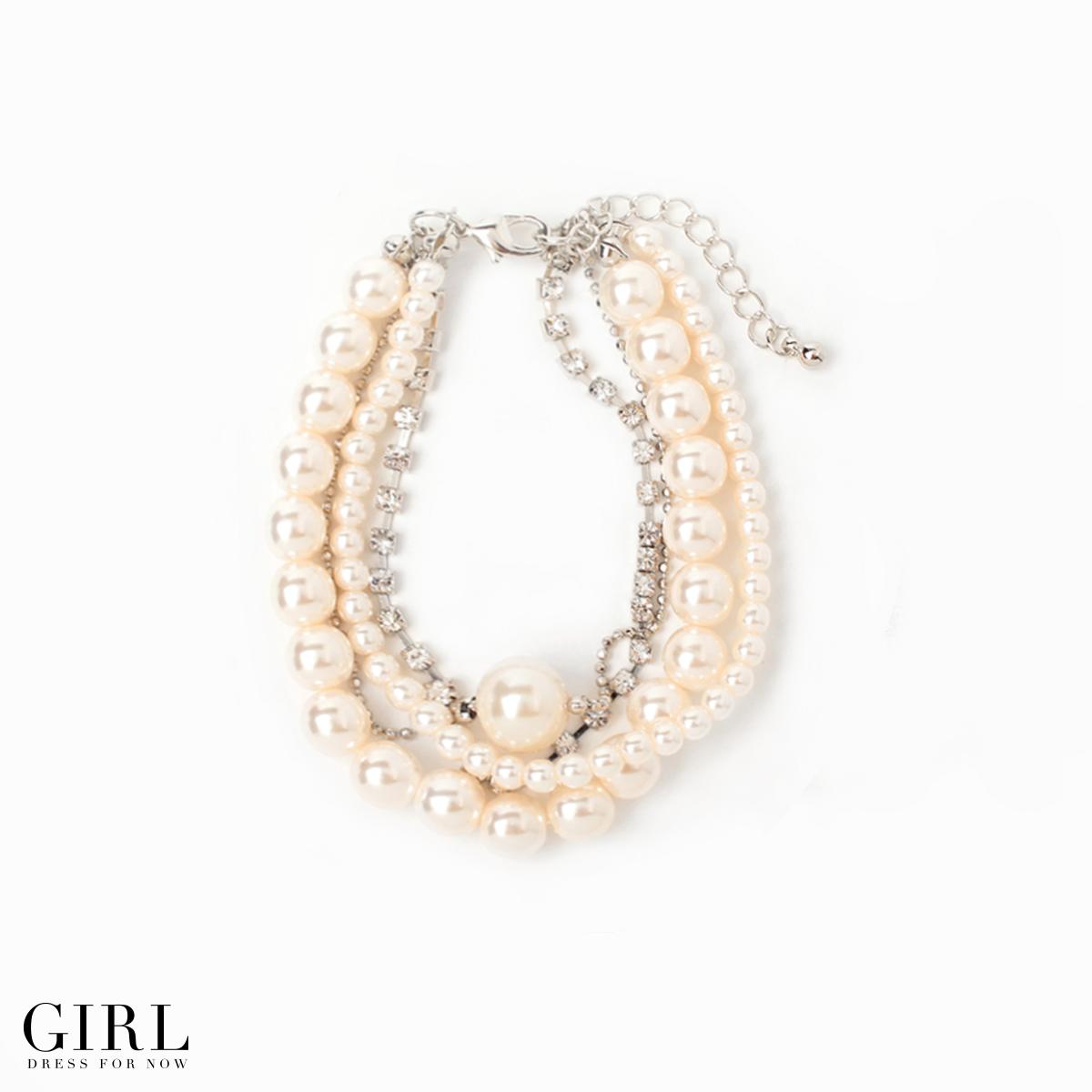 Dress Shop Girl 4 Small Pearl Rhinestone Chain Bracelets