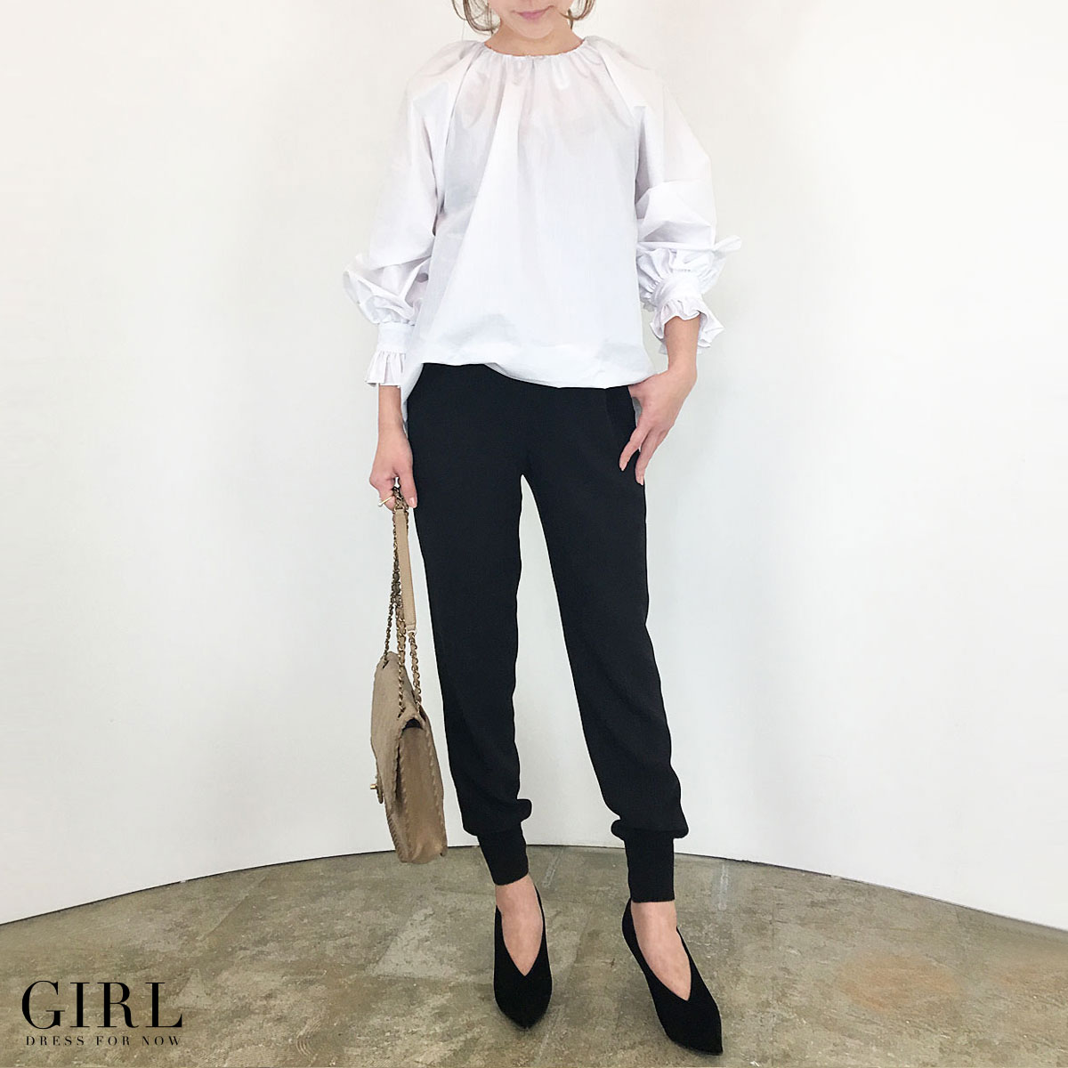e644660e The casual commuting office business four season white stripe individual  adjustable size frill sleeve frill no ...