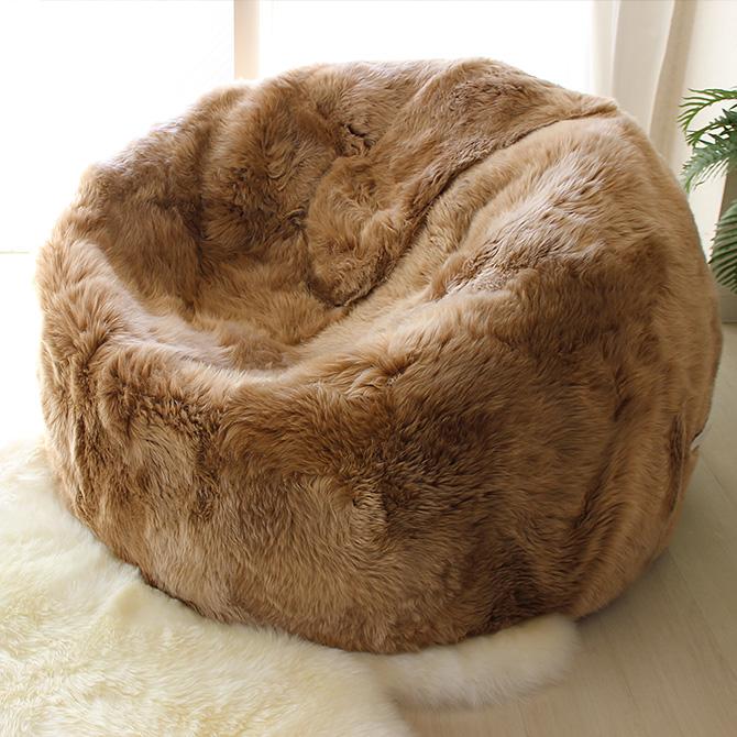 AUSKIN オースキン ムートンクッション ビーンバッグ ムートン 特大 長毛 ビーズ ヒツジ 羊毛 おしゃれ 天然ムートン かわいい ソファ