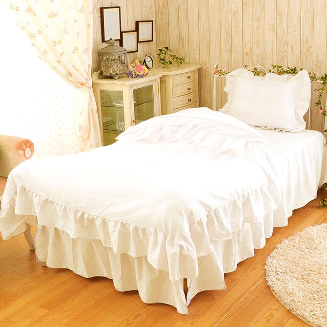 ピュアプリンセス 布団カバー ベッド用 ダブル4点セット 布団カバー 掛け布団カバー ボックスシーツ セット ピロケース フリル ベッドカバー ダブル ベッドスカート ホワイト