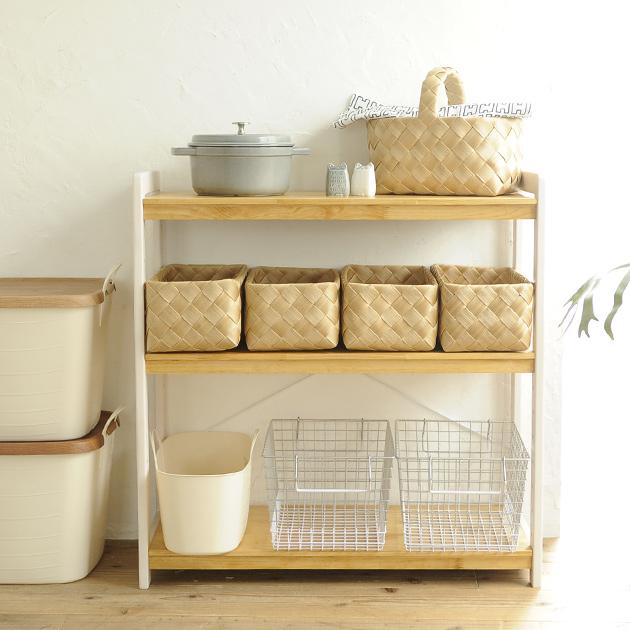 New Milk オープンラック ホワイトウォッシュ×ナチュラル ラック シェルフ 木製 北欧 ナチュラル 棚 3段 キッチン リビング 収納 【あす楽】