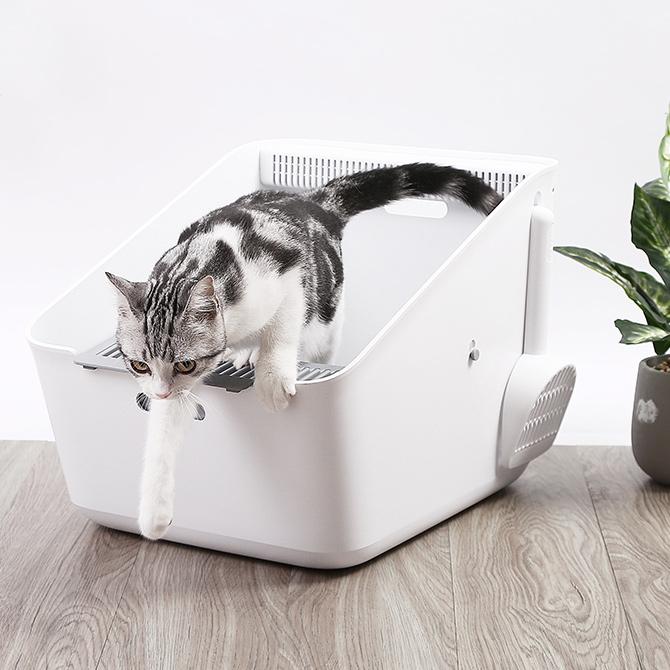 空気を清潔に保つピュラ エアがついた猫用トイレ PETKIT ペットキット PURA CAT ピュラ キャット 猫用トイレ cp259 【メッセージカード対応】 猫用 トイレ 消臭 シンプル モノトーン 白