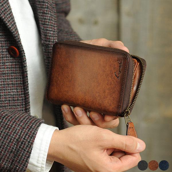青木鞄 二つ折り財布 ラウンドファスナー メンズ 本革 Lugard G-3 【ラッピング対応】 メンズ 大容量 カード たくさん 入る ポケット レザー 財布 box型小銭入れ コンパクト 小さめ 【あす楽】