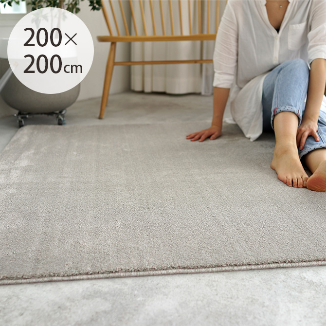 シープ・フレーテ 消臭防ダニラグ 200×200cm ラグ ペット 消臭 防ダニ 正方形 2畳 無地 すべり止め ホットカーペット対応 床暖房対応